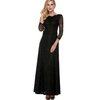 Cyber ANGVNS Women Lace 2/3 Sleeve Bridesmaid Homecoming Long Gown Maxi Cocktail Party Evening Fromal Dress (Black) Price Philippines
