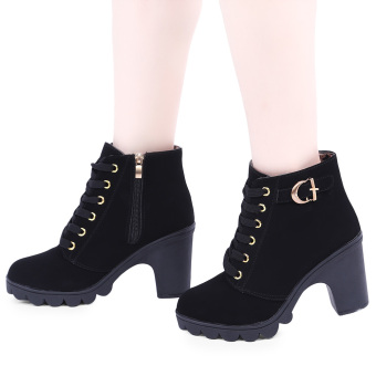 Harga Stylish Pure Color Lace Up Zipper Decoration Ladies Thick High Heel Ankle Boots(Black) - intl