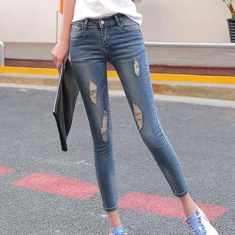 Harga The New Spring and Summer Nine Hole Stretch Jeans Jeans Lady Slim Slim Waisted Pencil Pants (nostalgia In Blue) - Intl - intl