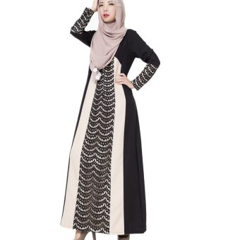Crochet Lace Contrast Abaya Muslim Maxi Dress (Black) - INTL Price Philippines