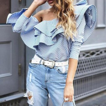 One Shoulder Ruffle Blouses 2017 Elegant Blue Striped Off Shoulder Tops Female Shirt Long Sleeve Ruffle Top - intl Price Philippines