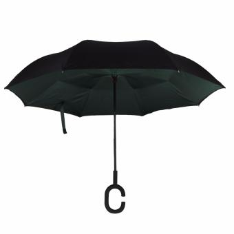 INVERTED UMBRELLA-MOSS GREEN two layers high-density water repellent fabric+carbon fiber high hardness skeleton rib+Rubberized plastic matte painting handle,Wear-resisting durable Price Philippines