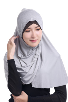 Agapeon New Fashion Muslim Instant Hijab Ice Silk Tudung(Grey) Price Philippines