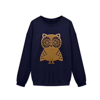 Harga 2017 New women hoodies sweatshirts women hoodie Women Owl Printing Loose Blouse Long Sleeve plus size Shirt M(blue) - intl