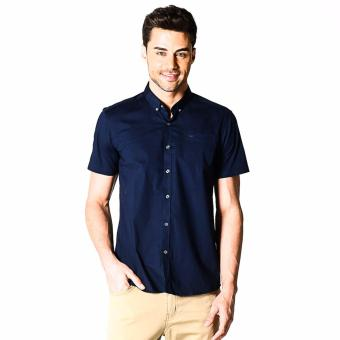 Harga Memo Basic Stretch Solid Short Sleeve Shirt With Tonal Owl Embro (Navy Blue)