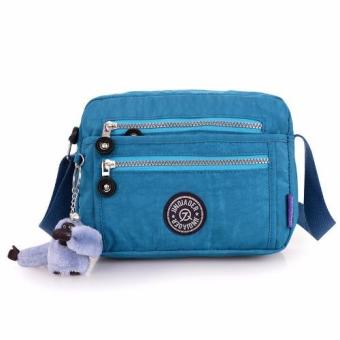 Harga Skadi JQE-6370 Women's Korean Fashion Bag Nylon Waterproof Multi-pocket Mini Bag Crossbody Shoulder Hand Bag Best Gift With Free Bag Charm(Aqua Blue)