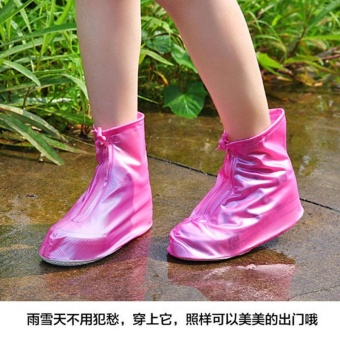 Harga Waterproof shoe covers women and men rain shoe covers fashion non-slip shoe covers - Pink - intl