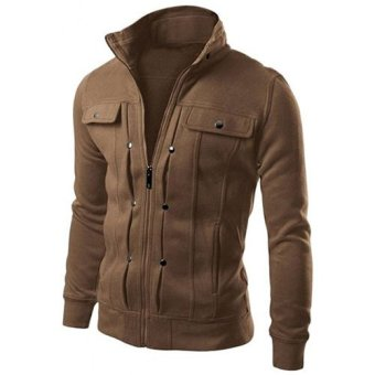 Harga Men's Fashion Long Sleeve Stand Collar Casual Jacket(Coffee) - intl
