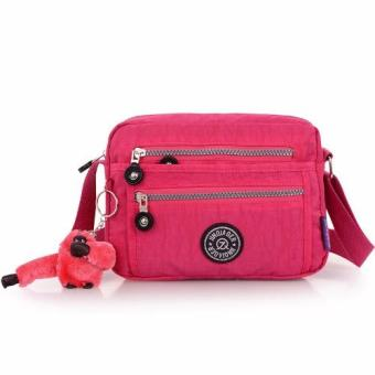Harga Skadi JQE-6370 Women's Korean Fashion Bag Nylon Waterproof Big Size Multi-pocket Mini Bag Crossbody Shoulder Hand Bag Best Gift With Free Bag Charm(Rose Pink)