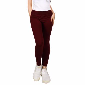 Cotton Republic Modern Fashionable Plain Leggings (Maroon) Price Philippines