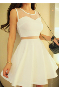 Cyber Women Sleeveless Net Yarn Vest Mini Dress (White) Price Philippines