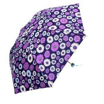 Harga London Fashion Flower Design Three Fold Compact Umbrella (Deep Purple)