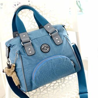 Harga Skadi JQE-2018 Women's 2 Way Korean Fashion Bag Nylon Waterproof Big Size Multi-pocket Travel Bag Crossbody Tote Bag Best Gift With Free Bag Charm(Smoke Blue)