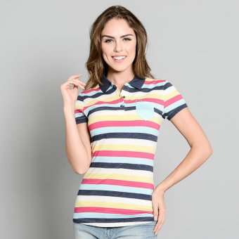 Lee Ladies' Striped Polo (Dk Maong Blue/Golf/Salmon) Price Philippines