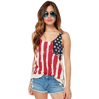Fancyqube American Flag Pattern Printed Vest Multicolor Price Philippines