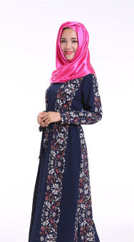 Chiffon muslim abaya long dress double layer baju kurung (Navy) Price Philippines