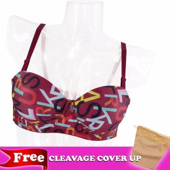 KARA DSN# 7704-3 SACHI MOLDED CUPS STRAPLESS BRA (PRUNE PURPLE PRINTED) Price Philippines