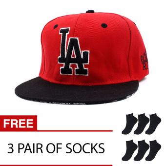 Harga Cap City Unisex Hip-hop LA Los Angeles Snapback (Red/Black) with 3 Pair of Socks