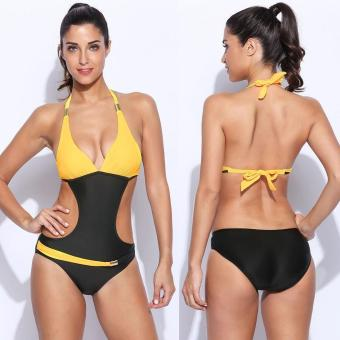 Jo.In Women Sexy One Piece Contrast Color Backless Swimsuit Swimwear - intl Price Philippines