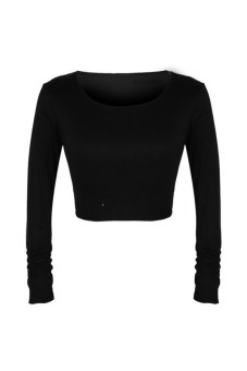 Harga Women Long Sleeve Crop Top Show Slim T Shirt All Match Tops Black - Intl