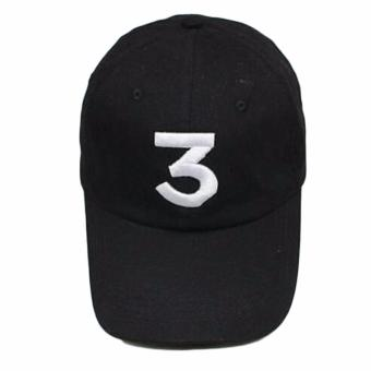 Harga Hequ Popular chance the rapper Hat Cap Black Letter Embroidery Baseball Cap Hip Hop Streetwear Strapback chic style Black - intl
