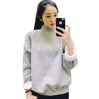 Harga Women Hoodies Sports Sweatshirt Pullover Gray