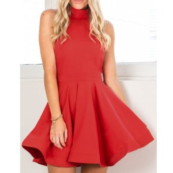 Cyber Women Halter Off Shoulder Sleeveless Mini Dress ( Red ) - intl Price Philippines