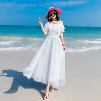 Harga Feng Sheng Bohemian Braised Chiffon White Skirt Dress Beach Skirt - intl