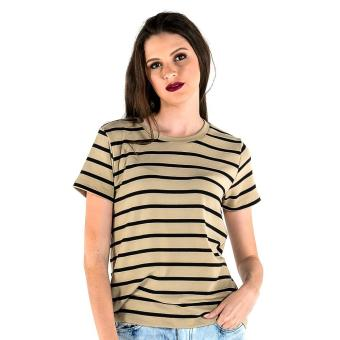 Harga OXYGEN Striped Boxy Tee (Taupe)