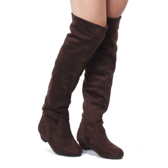 Harga Womens High Heels Suede Boots Thigh High Slouch Over The Knee Pull On Stilettos - Intl