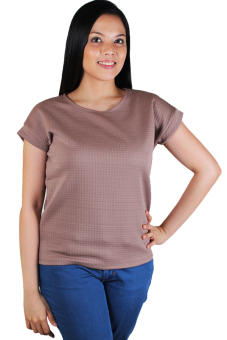 Cotton Republic Emboss Pattern Design Blouse (Brown) Price Philippines