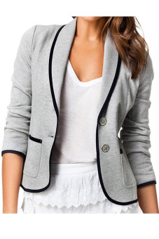 Harga Women's Casual Turn-down collar Button Suit Jacket (Grey) (Intl)