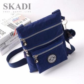 Harga Skadi Women's Korean Fashion JQE-1062 Nylon Waterproof Multi-pocket Sling Bag Messenger Bag Best Gift With Free Bag Charm(Royal Blue)