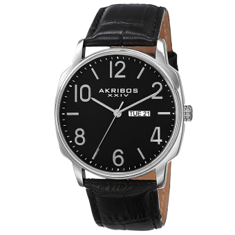 Harga Akribos XXIV Element Men's Black Leather Strap Watch AK801SSB