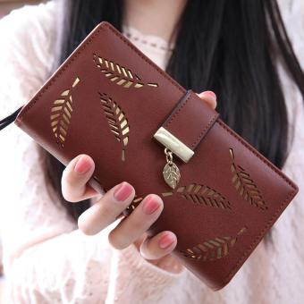 Harga Lady Long Leather Purses Girls Leaf Charm Wallet - Coffee - intl