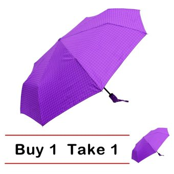 Harga London Fashion Broken Lines Design Windproof Automatic Compact Outdoor Foldable Umbrella (Violet) BUY 1 TAKE 1