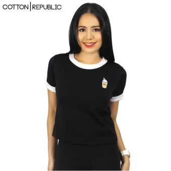 Cotton Republic POSH Crop/Sexy Top Patched Design - Drinks (Black) Price Philippines