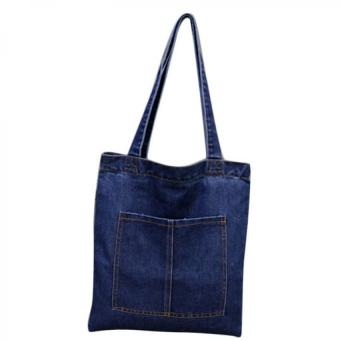 Casual Canvas Denim Jean Ladies Shopper Bag - Navy Blue-3 Price Philippines