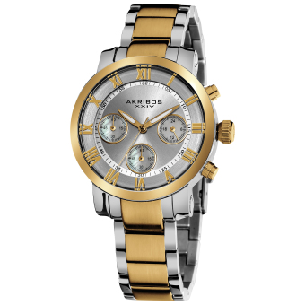 Harga Akribos XXIV Women's Two Tone Stainless Steel Strap Watch AK623TT