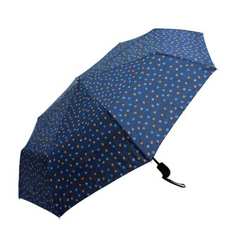 Harga London Fashion Swirl Design Windproof Automatic Compact Outdoor Foldable Umbrella (Navy Blue)