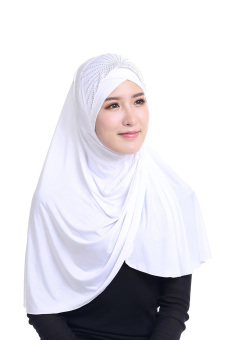 Agapeon New Fashion Muslim Instant Hijab Ice Silk Tudung(White) Price Philippines