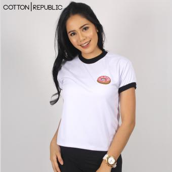Cotton Republic POSH Crop/Sexy Top Patched Design - Doughnut (White) Price Philippines