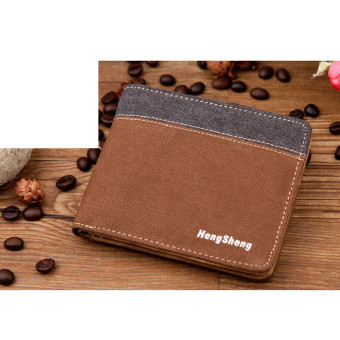 Harga Men Wallets Fashion Casual Wallets-coffee