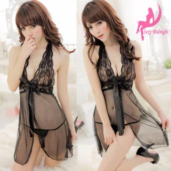 Harga Skadi Hot Girl #K6003 Women Girlfriend Wife 2 Piece Sweet Romantic Sexy Lady Lingerie Baby Doll Dress See-through Lace Sleepwear Night Gown Wedding Birthday Gift With Panty Best Gift(Black)FREE Mini Make Up Mirror