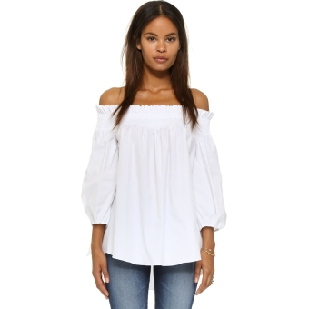 Harga New Fashion Women Off-shoulder Casual Blouse (White) - intl