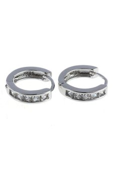 Harga Fashion Small Round Huggie Hoop Earrings (Silver)