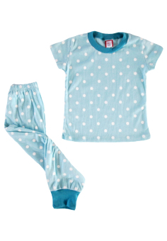 Aqua and White Polka Dots Pajama Set Price Philippines