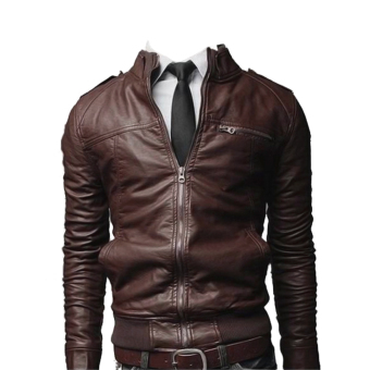 Harga Men's Fashion Leather Jacket Coat(Deep Coffee)