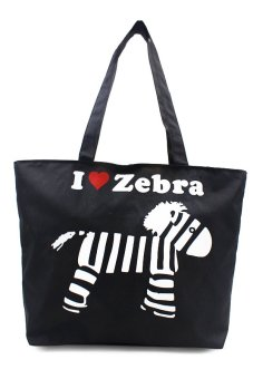 Harga London Fashion I Love Zebra Design Tote Bag (Black)