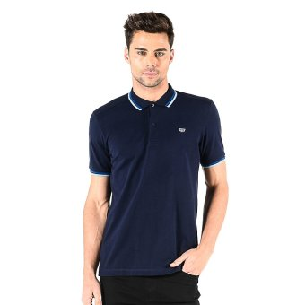 Harga Memo Essential Solid With Double Tipping Polo Shirt (Navy Blue)